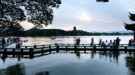 sunset timelapse at ancient bridge of west lake, China video