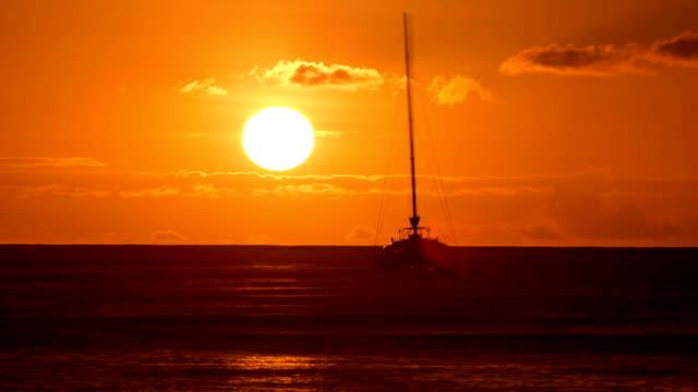 Sunset Time-Lapse Ocean Sailboat video