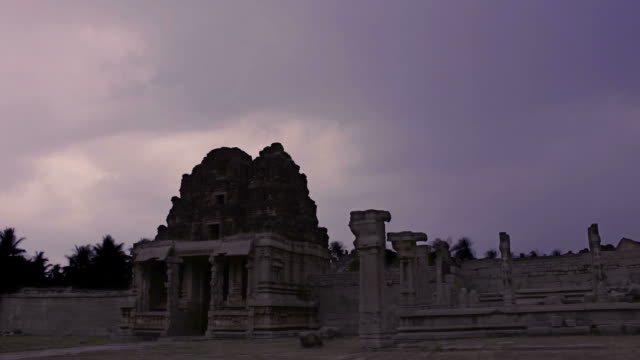 Sunset timelapse of temple ruins video