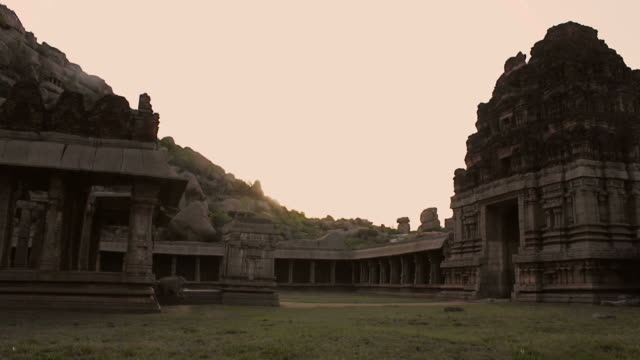 Sunset timelapse of temple ruins. video