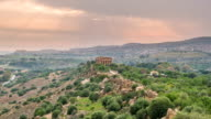 Sunset timelapse of Valley of temples in Agrigento in Sicily video