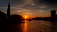 Sunset timelapse view of the river Thames in London video