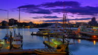 Sunset Victoria BC Canada Harbour, Purple Sky and Moored Boats at Dock video
