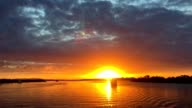 Sunset View from a Yacht on Calm Water in South East Queensland Australia video