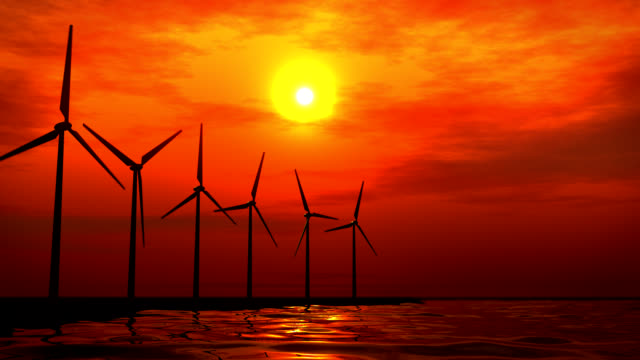 Sunset Wind Turbines video