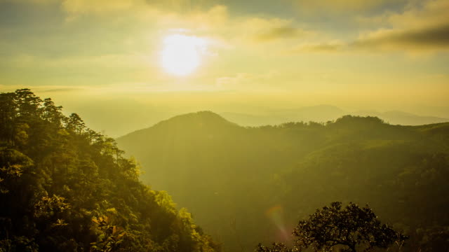 Sunset with Cloud over mountains video