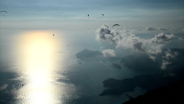 Sunset with paragliding video