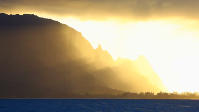 sunset with rain shower, kauai, hawaii video