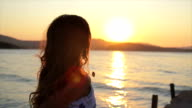 Sunset Woman Running Ocean Reflection Sun Summer Vacation video