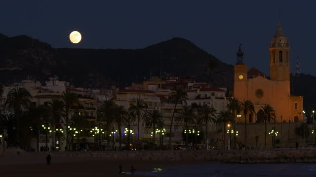 super moon 4k sitges church of sant sant bartomeu and santa tecla video