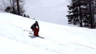 HD: Super Slo-Mo Shot of Free Ride Skier Extreme Jumping video