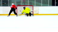 HD: Super Slo-Mo Shot of Hockey Player in Goal Action video