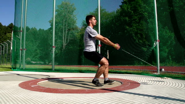 HD: Super Slo-Mo Shot of male hammer thrower video