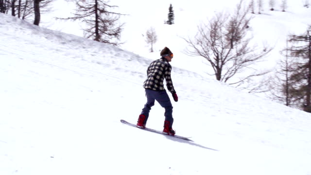 HD: Super Slo-Mo Shot of Snowboarder Performing Grab video