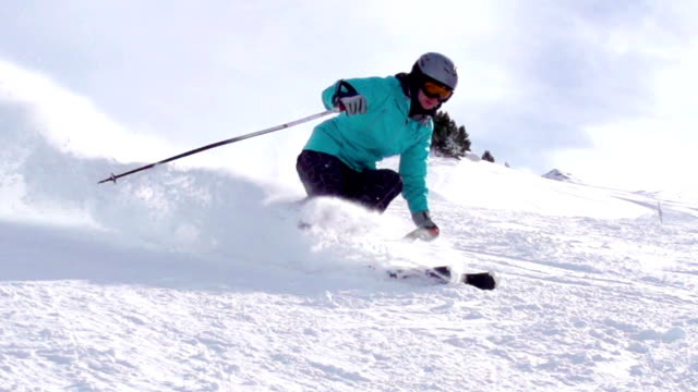 HD: Super Slo-Mo Shot of Young Women Skiing video