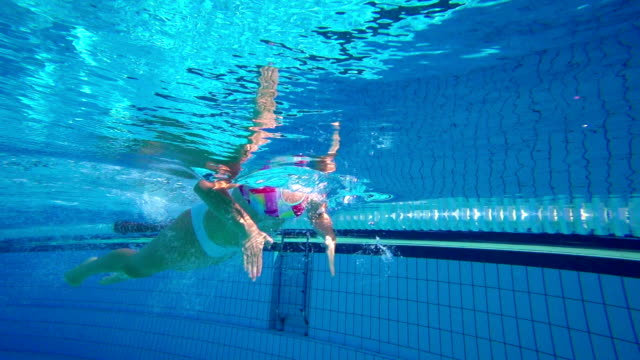 HD Super Slo-Mo Underwater: Young Woman Swimming Breast stroke video