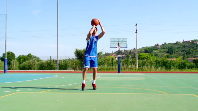 HD: Super Slo-Mo Video of Young Man Practicing Jump Shot video