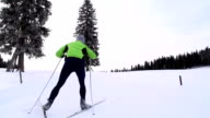 HD: Super Slo-Mo: Young Man at Cross Country Skiing video