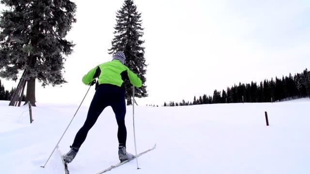 HD: Super Slo-Mo: Young Man at Cross Country Skiing video