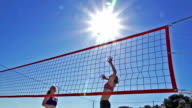 HD Super Slo-MO:Group of Young Women Practicing Beach Volley video