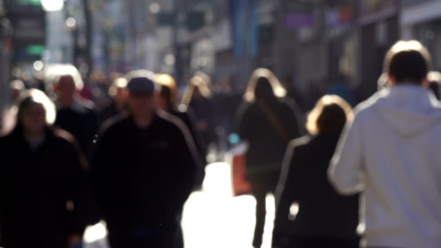 Super Slow Motion, Blurred people walking on City high street video