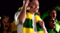 Super Slow Motion,  Brazil sports fan cheering (Olympics) video
