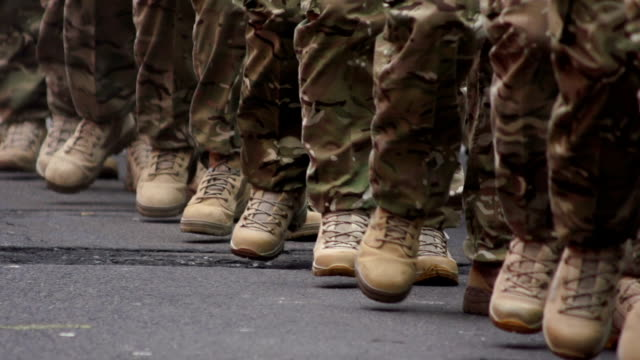 Super Slow Motion HD - Army soldiers March, Close-up video