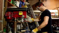 Super Slow Motion HD - Joiner using Pillar Drill video