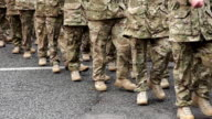 Super Slow Motion HD, Wide shot of Army soldiers Marching video