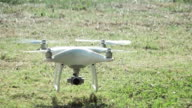 Super slow motion HD:camera drone Landing on the grass video