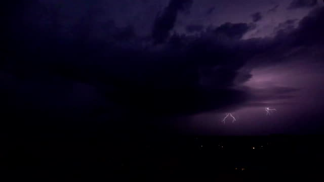 Super slow motion shot of a heavy lightning strike at night video