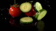Super Slow Motion: Tomatoes & Cucumber splashing video
