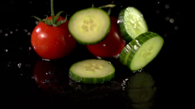 Super Slow Motion: Tomatoes & Cucumber splashing video
