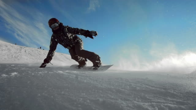 HD Super Slow-Mo: Back Lit Snowboard Carving video