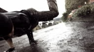 HD Super Slow-Mo: B-Boy Dancing In The Rain video