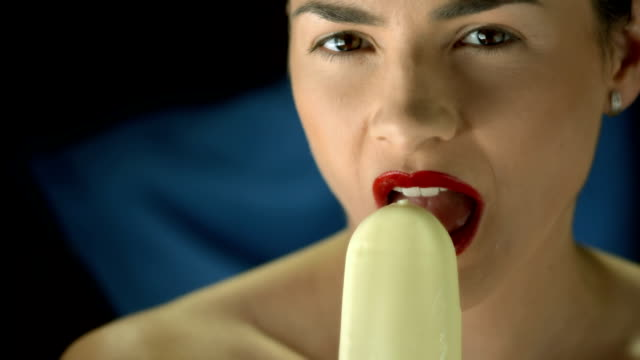 HD Super Slow-Mo: Beautiful Woman With Ice Cream video
