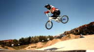 HD Super Slow-Mo: Bmx Riders Jumping Over Double Jump video
