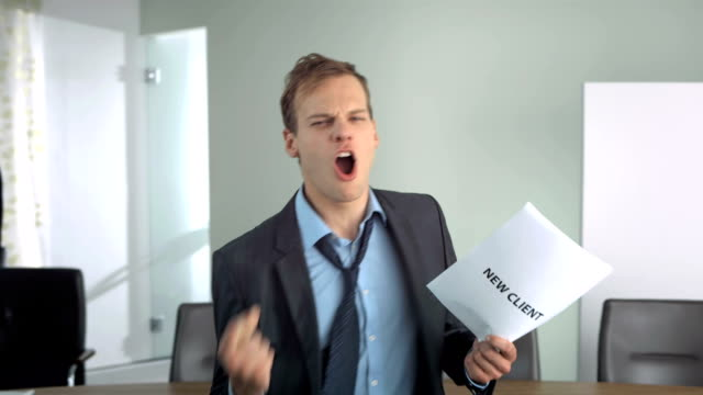 HD Super Slow-Mo: Businessman Cheering Acquiring A New Client video