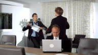 HD Super Slow-Mo: Businessmen Jostling In The Office video