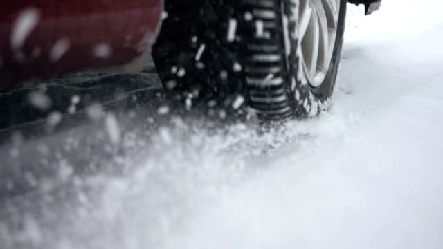 HD Super Slow-Mo: Car Wheel Spinning In The Snow video