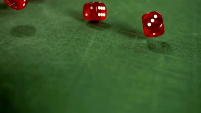 HD Super Slow-Mo: Casino Red Dices Rolling video