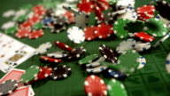 HD Super Slow-Mo: Chips Falling On A Poker Table video