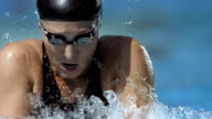 HD Super Slow-Mo: Close-Up Of A Woman Swimming Breaststroke video