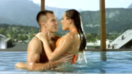 HD Super Slow-Mo: Couple Making Love In The Pool video