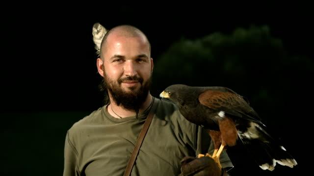 HD Super Slow-Mo: Falconer With Harris Hawk video