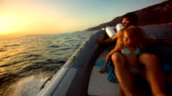 HD Super Slow-Mo: Family Riding In The Motor Boat video