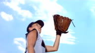 HD Super Slow-Mo: Female Softball Catcher In Action video
