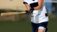 HD Super Slow-Mo: Female Softball Player Batting Ball video