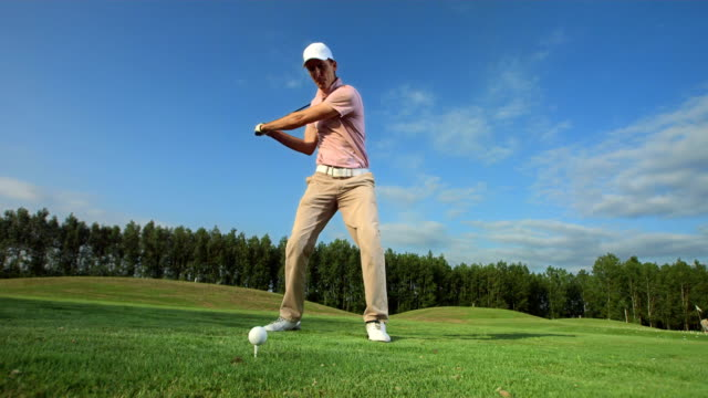 HD Super Slow-Mo: Golfer Teeing Off video