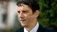 HD Super Slow-Mo: Happy Businessman In The Rain video